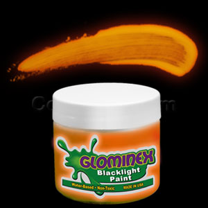 Glominex Blacklight UV Reactive Paint 2 oz Jar - Orange