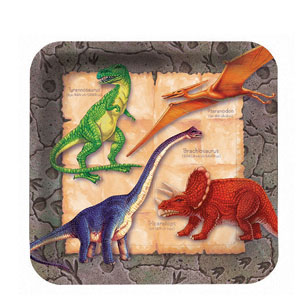 Diggin' For Dinos Square 9 Inch Plates- 8ct