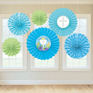 Blue Communion Decorative Fan- 6ct