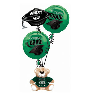 Green Grad Bear Balloon Bouquet- 4pc