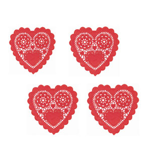 Mini Red Heart-Shaped Doilies