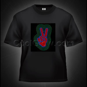 LED Sound Activated T-Shirt - Peace Sign