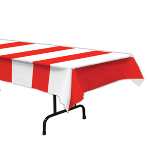 Red and White Stripes Tablecover- 108in