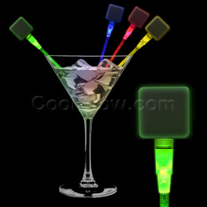 Fun Central O048 LED Light Up Square Cocktail Stirrers - Assorted