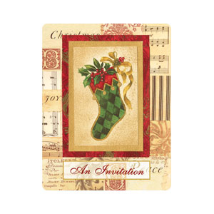 Elegant Stocking Postcard Invites - 20ct