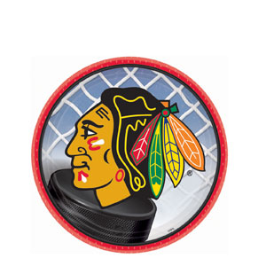 Chicago Blackhawks 7 Inch Plates- 8ct