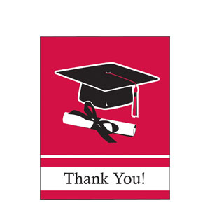 Red Graduation Thank You Card