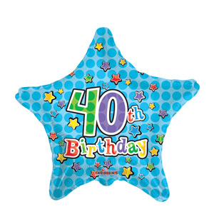 40th Birthday Star Blue Balloon- 18in