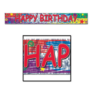 Happy Birthday Fringe Banner 3 - 5 Foot