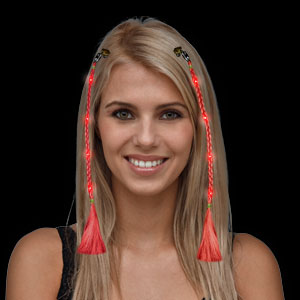 LED Braided Hair Extensions - Red