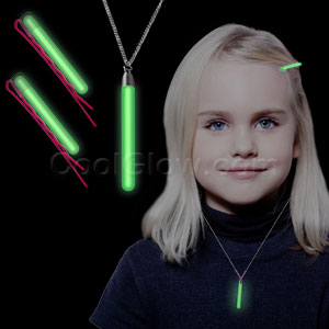 Glow Hair Pins and Pendant Necklace Set - Green