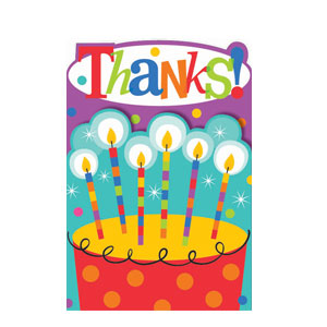 Birthday Dots and Stripes Thank You Cards- 8ct