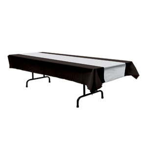 Black and Silver Plastic Tablecover - 108in