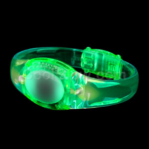 LED Sound Activated Oval Bracelet - Green