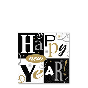 New Years Block Party Beverage Napkins- 16ct