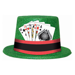 Glitter Playing Cards Top Hat- 5in