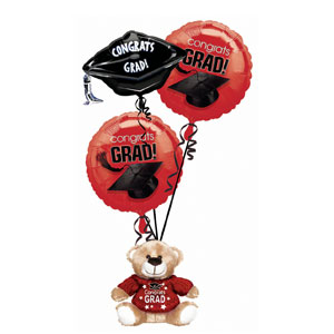 Red Grad Bear Balloon Bouquet- 4pc