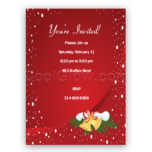 Red Holiday with Bells - Custom Invitations