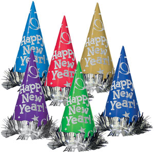 Metallic New Years Party Hats- 9 Inches 12ct