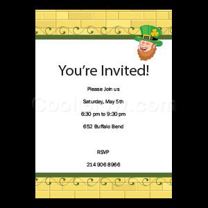 Gold Brick Leprechaun - Custom Invitations