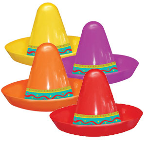 Assorted 2 Inch Plastic Sombreros- 8ct