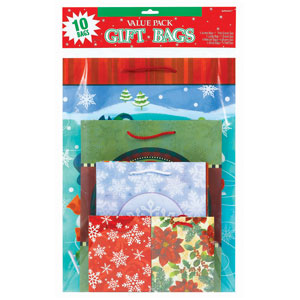 Christmas Gift Bag Value Pack- 10ct