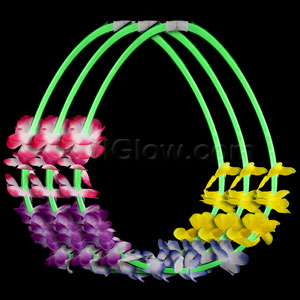 22 Inch Flower Lei Glow Necklaces - Green