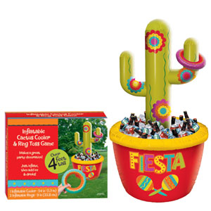 Inflatable Cactus Cooler and Ring Toss Game- 6ft