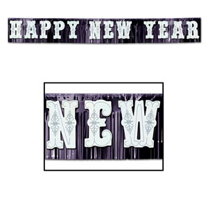 Giant Metallic Happy New Year Banner - 15ft