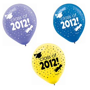Multicolor Grad 2012 Latex Balloons- 20ct