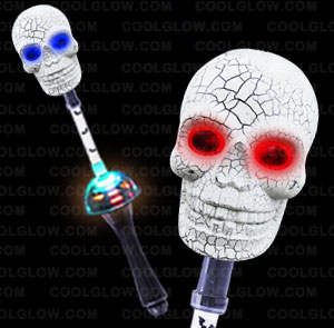 LED Spinning Skull Wand - 15 Inch
