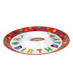Happy Birthday Dots and Stripes Chip and Dip Tray- 13in