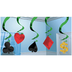 Casino Hanging Swirl Decorations- 5ct