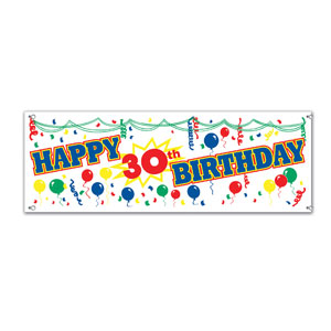 Happy 30th Birthday Banner - 5ft
