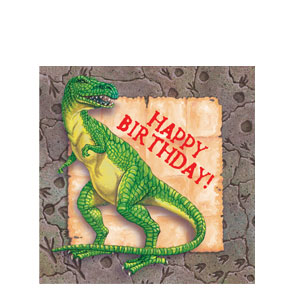 Diggin' For Dinos Luncheon Happy Birthday Napkins- 16ct