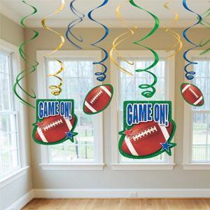 Football Swirl Decorations- 12pc