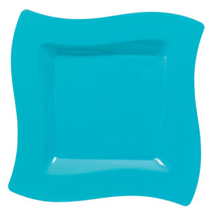 Carribean 10 Inch Wavy Square Plates - 10ct