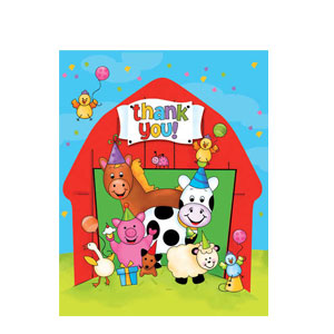 Barnyard Bash Fill-In Thank You Cards- 8ct