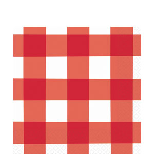 American Red Gingham Luncheon Napkins - 16ct