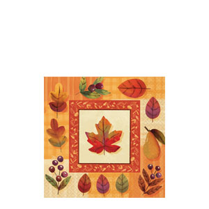 Watercolor Leaves Beverage Napkins