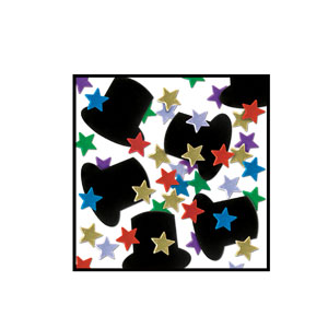 Top Hats and Mini-Stars Confetti - Multicolored