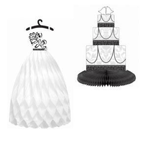 Black Honeycomb Dress and Cake Centerpiece- 3pc