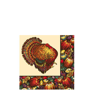 Autumn Turkey Beverage Napkins- 30ct