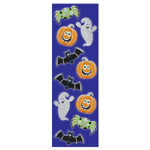 Glitter Cute Halloween Sticker Strips- 6ct