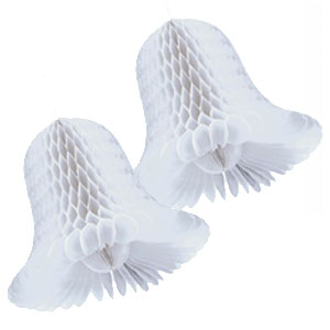 Honeycomb Wedding Bells- White 15 Inch 2ct