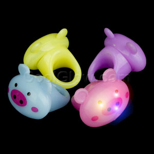 LED Jelly Pig Rings - Assorted