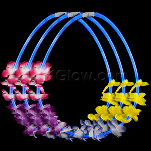 22 Inch Flower Lei Glow Necklaces - Blue