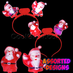 LED Santa Headbands - Assorted