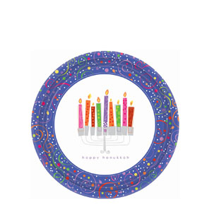 Playful Menorah 7 Inch Plates