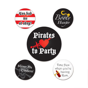 Pirate Party Buttons - 5ct